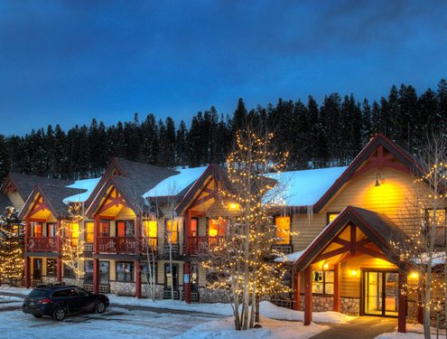 Breck Inn Winter Evening Exterior