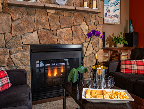 Fireplace with snack and wine